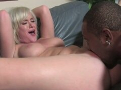 Blonde mouthing huge cock before hard slamming