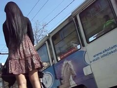 Upskirt voyeur video of a stimulating chick