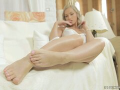 Real angel teasing you with her beautiful bare feet in a solo video