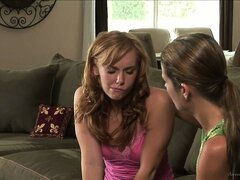 Young teen needs a mentor and her lesbian mom consoles her with kisses