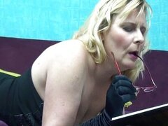 Horny mature housewife playing with her