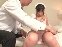 Doctor erotically fondles Japanese nurse