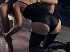 Hot babes bang with strap in garters