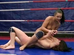 Hot young brunettes fighting