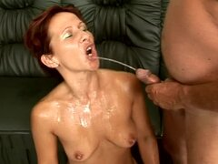Cindy the kinky mature babe gets fucked and peed on