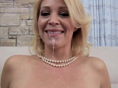 Cum on the tongue of Charlee Chase