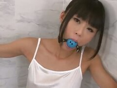 Japanese teen Chika is bound in the shower with a horny guy teasing her body