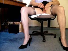 Dressed up as a slutty secretary...