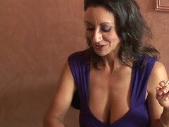 Drunk and busty black haired milf put the moves on a fresh cock