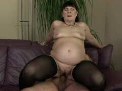 After Riding the Guy's Dick This Naughty Granny Licks His Ass