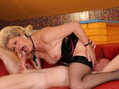 A nasty old granny has her pussy licked why she sucks on the fella's fuck stick