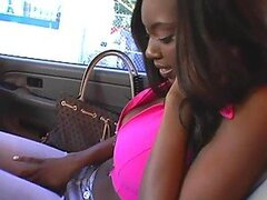 Slim ebony babe with big natural boobs looks good riding this white guy's cock.