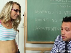 Naughty blonde Kiarra Knight sucks the teacher's cock...