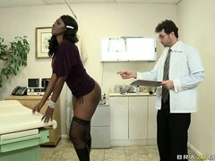 Black office girl gets her ass measured, felt up, and gets a butt plug
