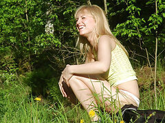 Another home-made video is ready to entertain you. This time Joe and Florence went out to shoot the movie in the bush. That hottie undresses and shows her pussy into the camera as close as possible. Her body is very slim and sexy and so hot.