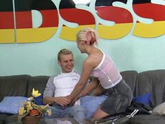 German amateur guy with a big dick does a blonde  DBM Video