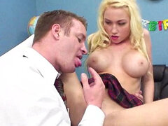 Busty schoolgirl Madison Scott with upskirt is doing blowjob on her knees