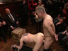 Girl With Strapon Joins The Guys in the Gangbang Fun With a Helpless Babe