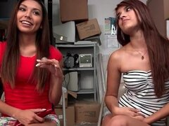 Latina strips in front of her friend to show skinny body
