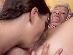 Granny has sex with young brunette girl