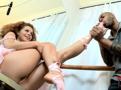 Ballerina cutie coaxes the cum right out of his big black cock with her sexy feet