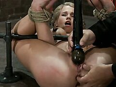 Beautiful slim blonde tied and helpless for pussy bang