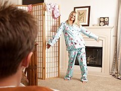 Heather Starlet may look sweet and innocent trying on her Pj's but looks can be deceiving. We have never fucked a girl that was so obsessed with our cock. Heather starts by slurping up and down our pole like it was a cum flavored lollipop. Then she begs f