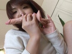 Sweet japanese teen slut enjoying self sex with filthy toy