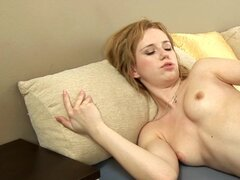 Skinny blonde loves her dildo