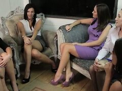 Clothed cfnm femdoms jerk off cumshot