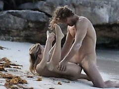 Exquisite bang on the beach in art movie