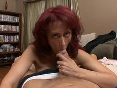 A huge cock finds some shelter in milfs Nikki Suns hot mouth