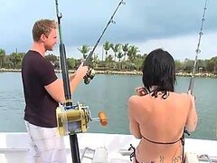 Sexy Brunette Ends Up Fishing A Hardcore Fuck From A Big Cock