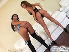 These two beautiful babes are masterfully giving head to