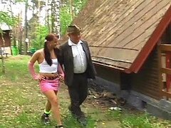 Raunchy Teen Goes into The Woods to Fuck a Daddy