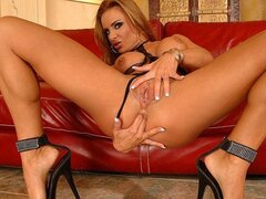 A randy mama messes around with herself rubbing her firm old body and beaver