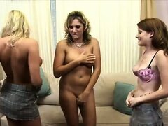 This is obviously Jessica's first time with two gorgeous honeys, but after what we do to her, it won't be her last. Dildos and tongues, now that's speaking our language. Our goal is to be covered in pussy juice by the end of the night!