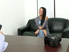 The hot brunette bimbo Christy Mack is at her first porn casting and it seems that her delicious body with nice big boobs and bubble booty impressed the guy really much