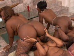 Three horny honeys Beauty Dior, Skyy Black and Cherokee D Ass share a dick