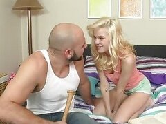 Blonde teen Chloe Foster pick up her coach