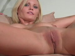 Spicy blonde with short hairs is sucking a dick