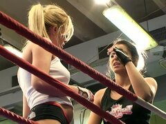 Nude Fight Club backstage with Lucy Belle...