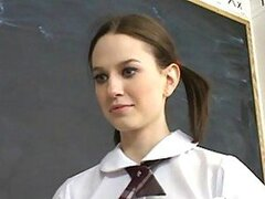 An adorable looking school chick does a naughty striptease for her randy teacher
