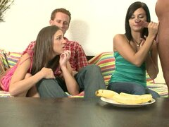Two Guys Take Their Chicks To For Blowjob Practice