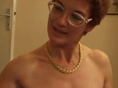 French mature slut in glasses gets two young cocks