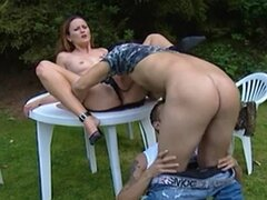 Bareback Bisexual Threesome in the Park with a Tranny