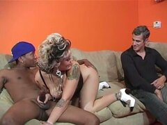 Big black cock jizzes on blonde's ass