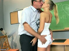 Slender blonde with perky tits gets a lesson she won't forget so soon