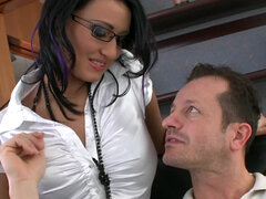 Busty secretary Carmen Black getting huge load of cum