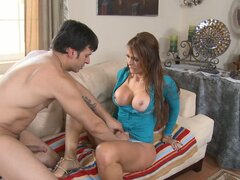 Skilled and mature Monique Fuentes fucks her son's friend on her couch